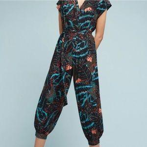 Anthropologie flowered jumpsuit size XL